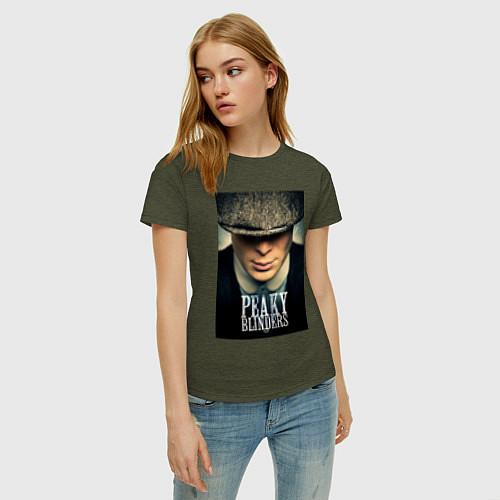 Женская футболка Peaky Blinders / Меланж-хаки – фото 3