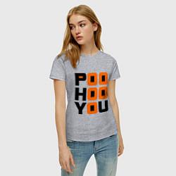 Футболка хлопковая женская Poo hoo you цвета меланж — фото 2