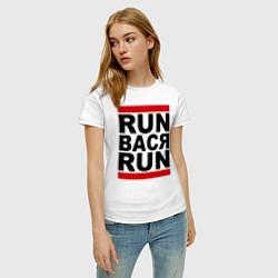 Футболка хлопковая женская Run Вася Run цвета белый — фото 2