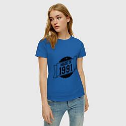 Футболка хлопковая женская Made in 1991 цвета синий — фото 2