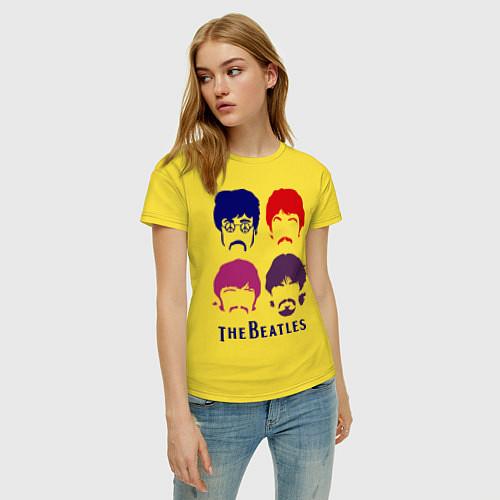 Женская футболка The Beatles faces / Желтый – фото 3