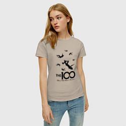 Футболка хлопковая женская The 100 цвета миндальный — фото 2