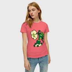 Футболка хлопковая женская Zombies hand цвета коралловый — фото 2