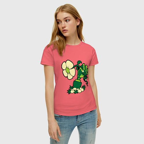 Женская футболка Zombies hand / Коралловый – фото 3