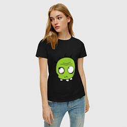 Футболка хлопковая женская Zombie (plant) цвета черный — фото 2