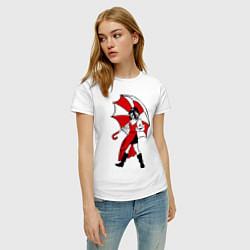 Футболка хлопковая женская Umbrella Girl цвета белый — фото 2