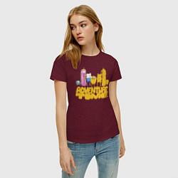 Футболка хлопковая женская Adventure time цвета меланж-бордовый — фото 2