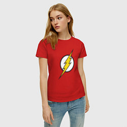 Футболка хлопковая женская Flash цвета красный — фото 2