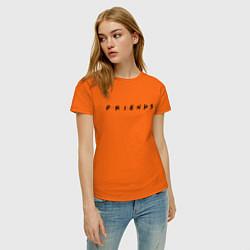 Футболка хлопковая женская Logo Friends цвета оранжевый — фото 2