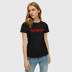 Футболка хлопковая женская Stigmata цвета черный — фото 2