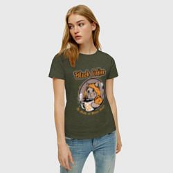 Женская хлопковая футболка с принтом Black Coffee Cat, цвет: меланж-хаки, артикул: 10205999100002 — фото 2