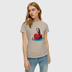 Футболка хлопковая женская CHERYL BLOSSOM цвета миндальный — фото 2