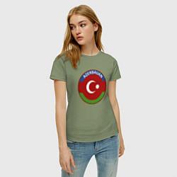 Футболка хлопковая женская Азербайджан цвета авокадо — фото 2