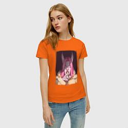 Футболка хлопковая женская Одна палочка цвета оранжевый — фото 2