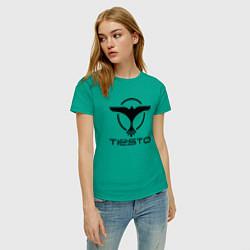 Футболка хлопковая женская Tiesto цвета зеленый — фото 2