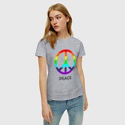 Футболка хлопковая женская Мир (Peace). Пацифик цвета меланж — фото 2