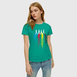 Футболка хлопковая женская Abbey Road Colors цвета зеленый — фото 2