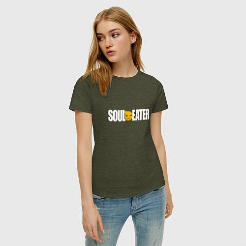 Женская футболка Soul Eater: White / Меланж-хаки – фото 3