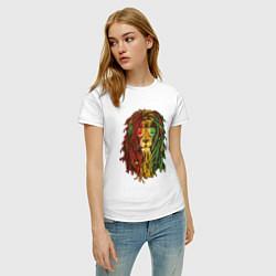 Футболка хлопковая женская Rasta Lion цвета белый — фото 2